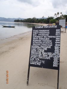 Typical pricelist at a beachfront massage (when we went NZ$1 = 24 Thai Baht