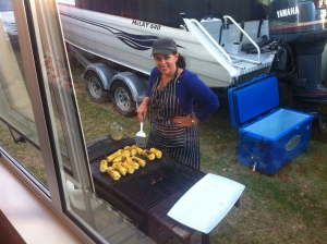 "The dialogue that went with this photo is ""what the hell is a woman doing on the BBQ"". Wash your mouth out Kev."