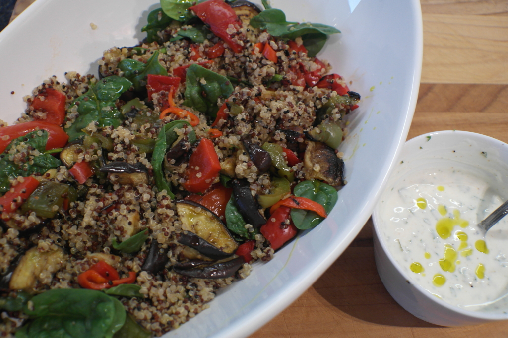 Quinoa Salad with Chargrilled Veges and Garlic Yogurt Dressing