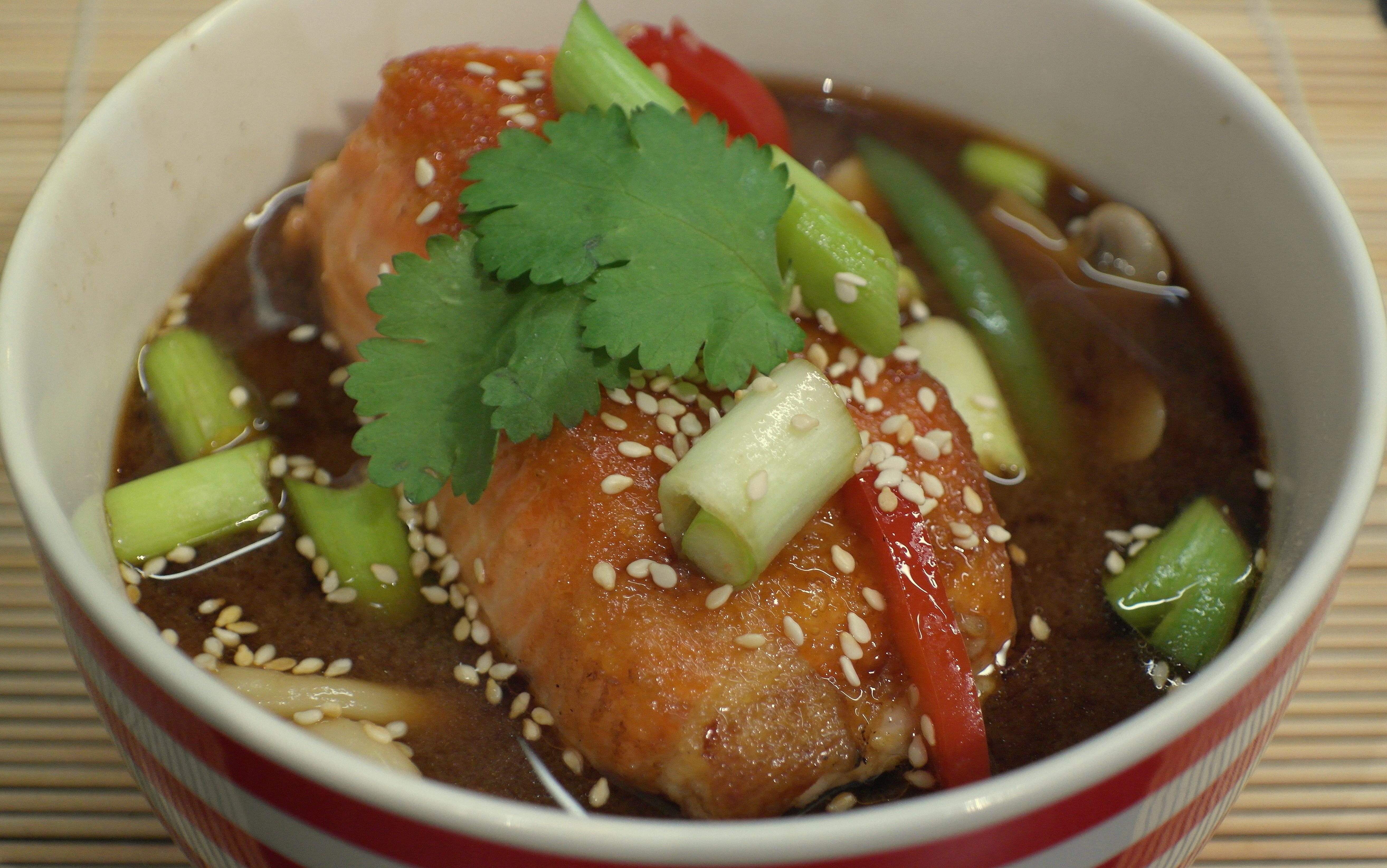 Ramen Noodle Soup with Crispy Salmon - The Beauty Foodie