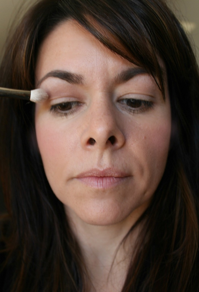 Bring the eyeshadow up quite high, so you can see it when your eye is open.