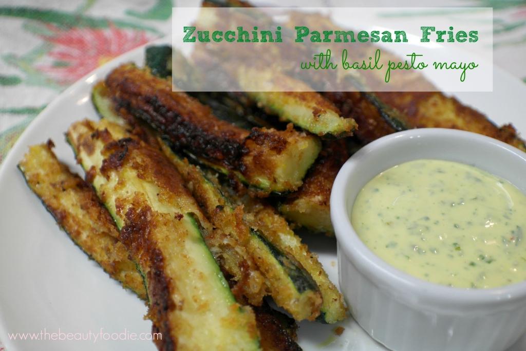 zucchini parmesan fries with basil pesto mayo