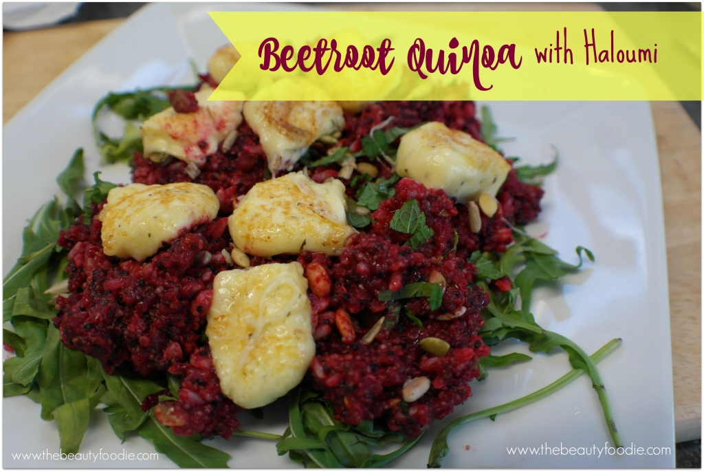 beetroot quinoa with haloumi
