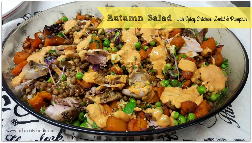 Autumn Salad with Spicy Chicken, Lentil and Pumpkin