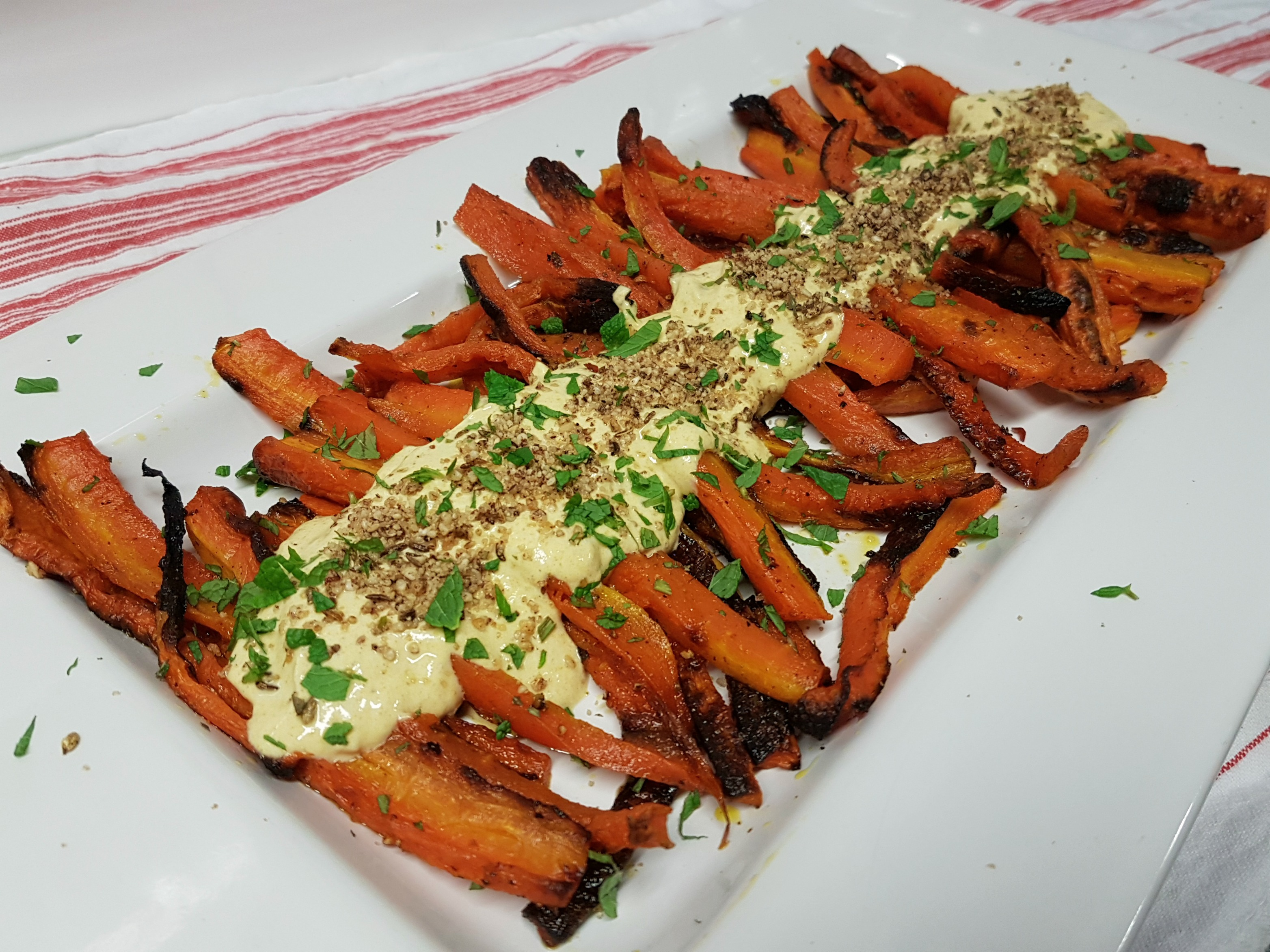Roast Carrot Salad with Spiced Yoghurt Dip