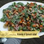 Kick Ass Kumara, Kransky and Spinach Salad